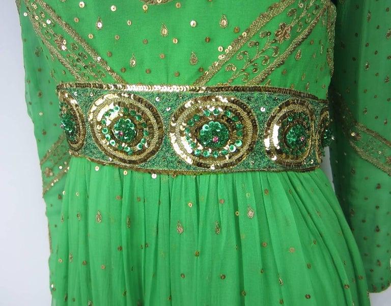 Women's Saz Surjit & Adash Gill Gown Beaded Silk Dress 1970s For Sale