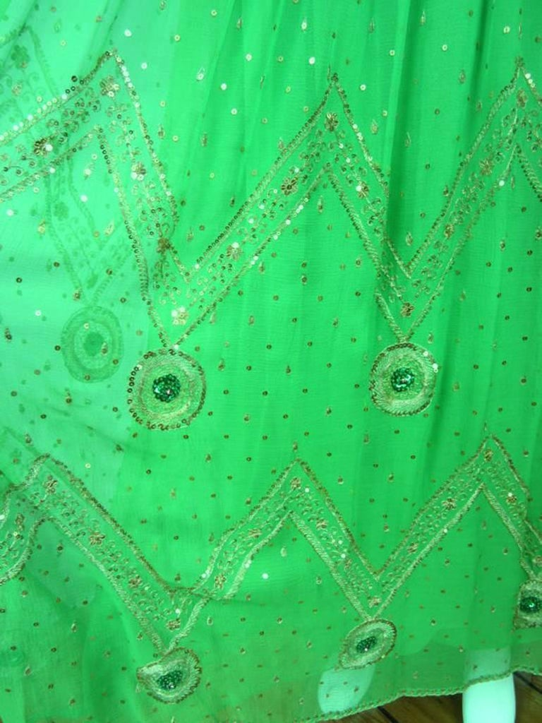 Saz Surjit & Adash Gill Gown Beaded Silk Dress 1970s For Sale 1