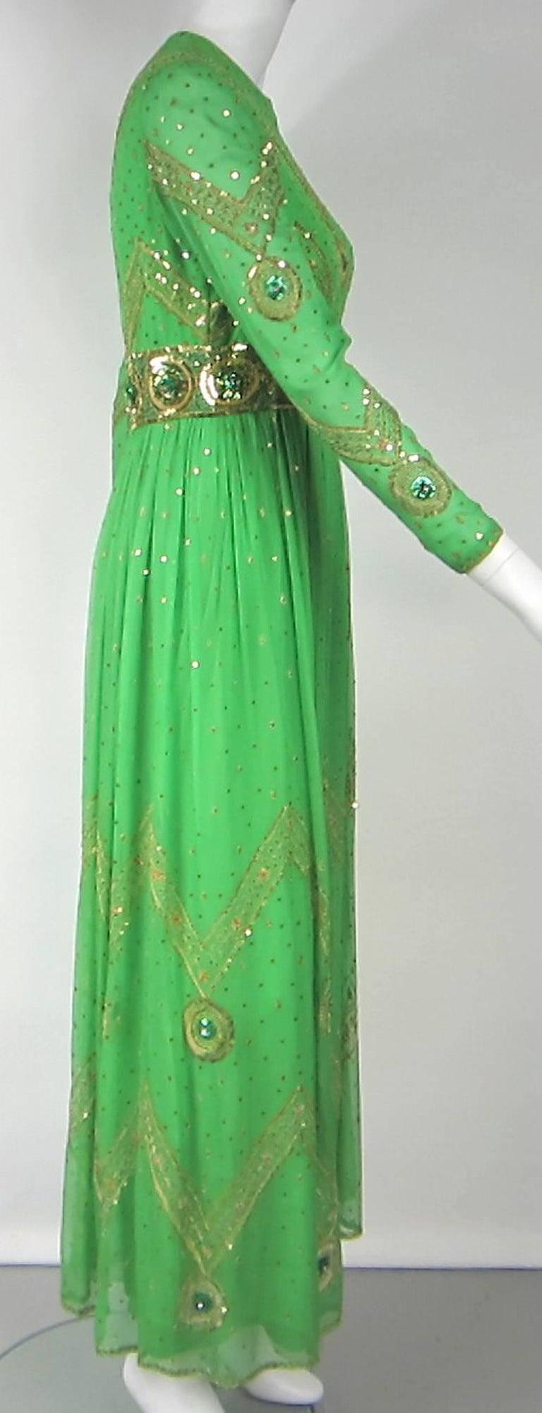 Saz Surjit & Adash Gill Gown Beaded Silk Dress 1970s For Sale 2