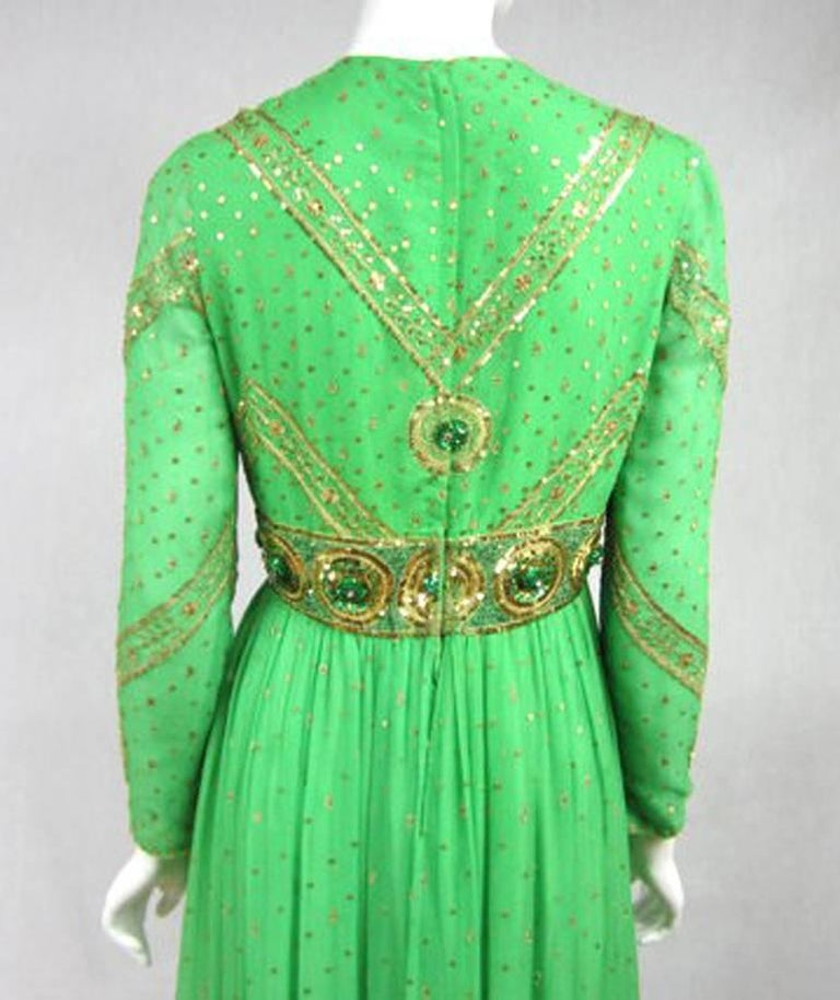 Saz Surjit & Adash Gill Gown Beaded Silk Dress 1970s For Sale 3