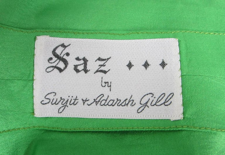 Saz Surjit & Adash Gill Gown Beaded Silk Dress 1970s For Sale 4
