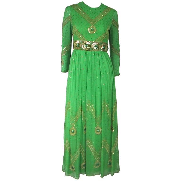 Saz Surjit & Adash Gill Gown Beaded Silk Dress 1970s For Sale