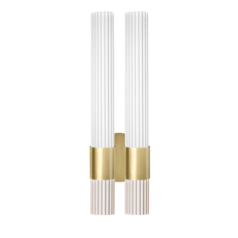 Italian Sbarlusc White Double Sconce by Isacco Brioschi For Sale