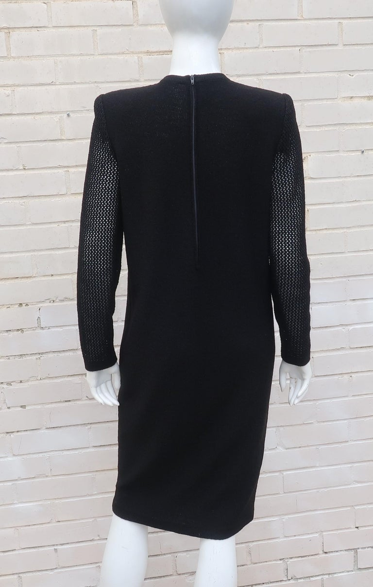 Scaasi 1980's Black Knit Dress With Large Gold Buttons 10