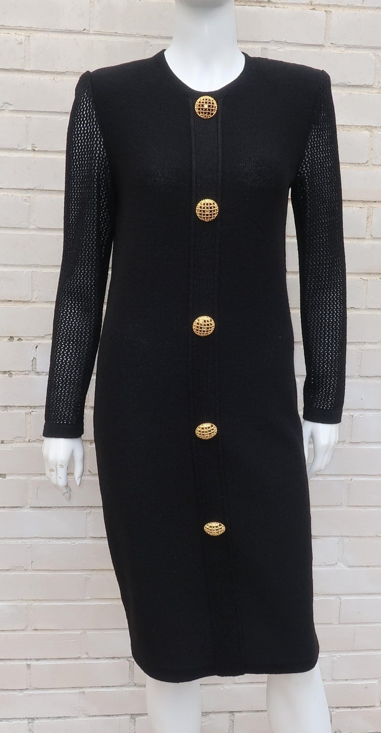 Scaasi 1980's Black Knit Dress With Large Gold Buttons 2