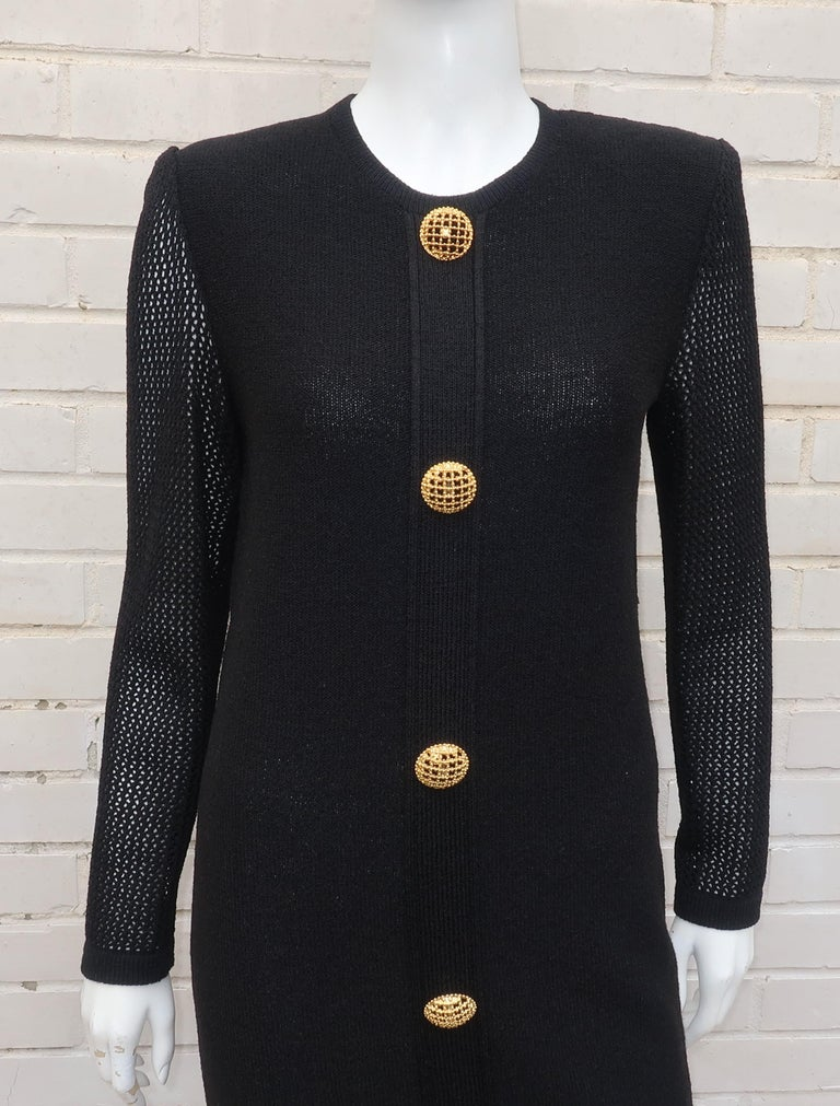 Scaasi 1980's Black Knit Dress With Large Gold Buttons 3
