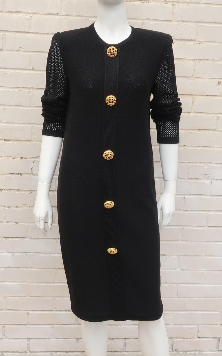 Scaasi 1980's Black Knit Dress With Large Gold Buttons 5