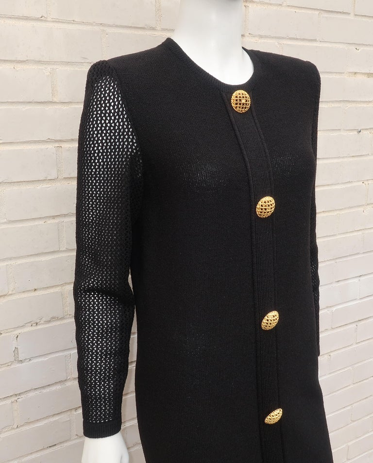 Scaasi 1980's Black Knit Dress With Large Gold Buttons 6