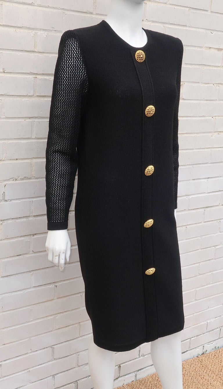 Scaasi 1980's Black Knit Dress With Large Gold Buttons 7