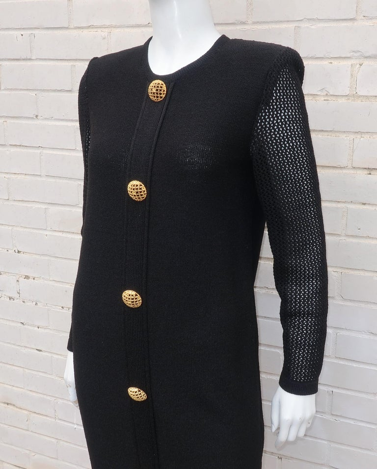 Scaasi 1980's Black Knit Dress With Large Gold Buttons 8
