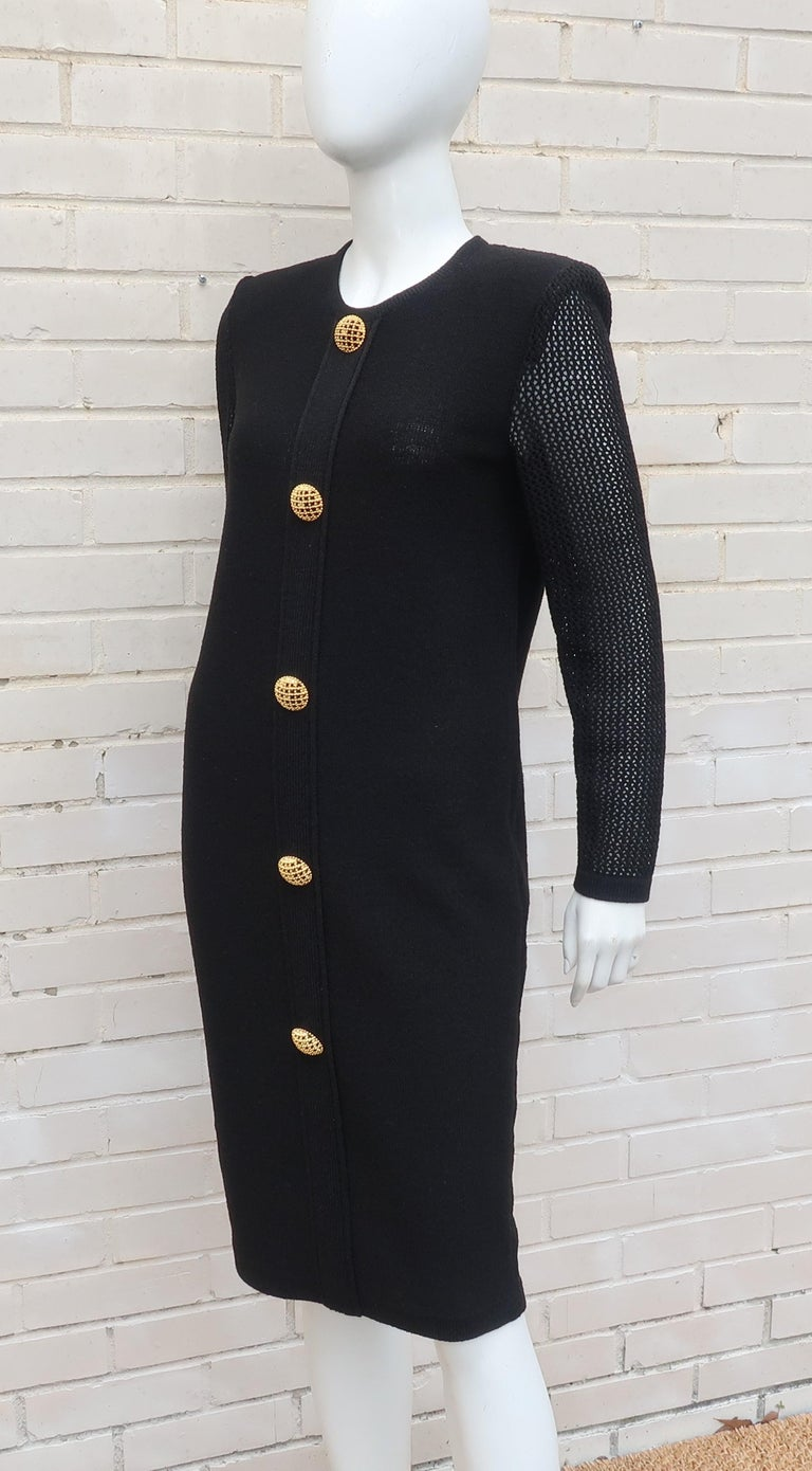 Scaasi 1980's Black Knit Dress With Large Gold Buttons 9