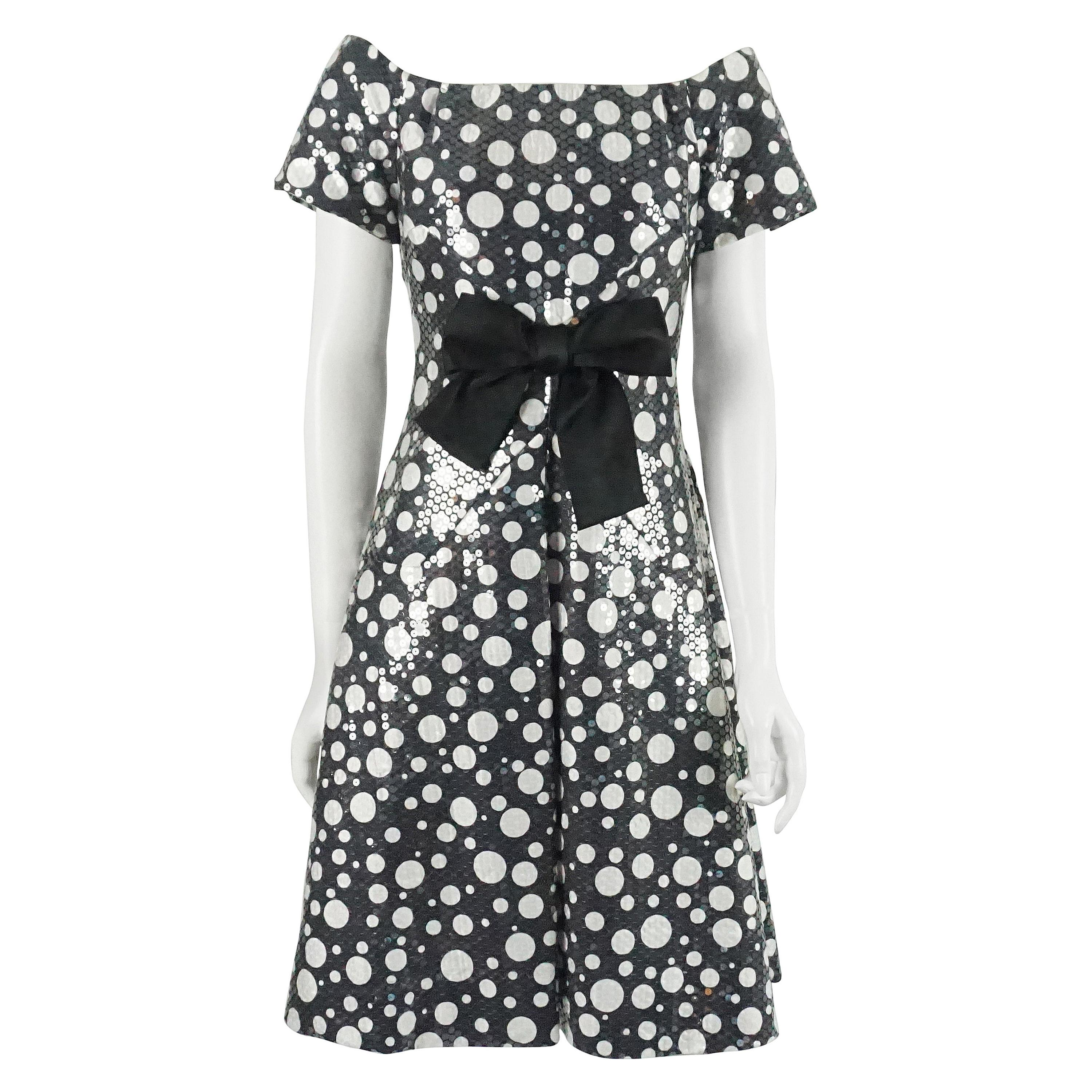 Scaasi Black and White Polka Dot Sequin Dress - S - 1980's