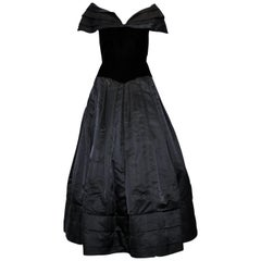 Scaasi Black Gown With Portrait Neckline Large Pleated Collar