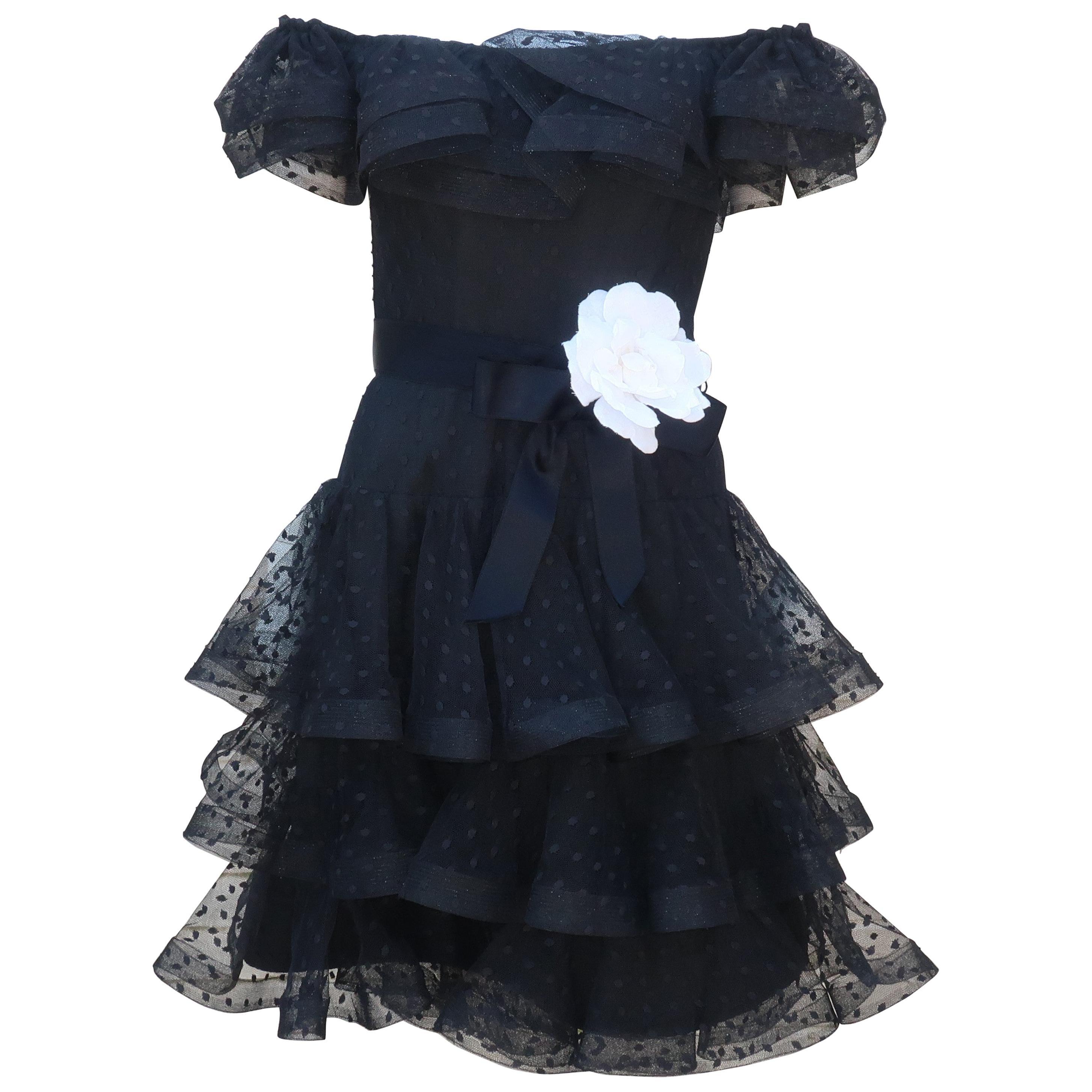 Scaasi Black Swiss Dot Tulle Cocktail Dress