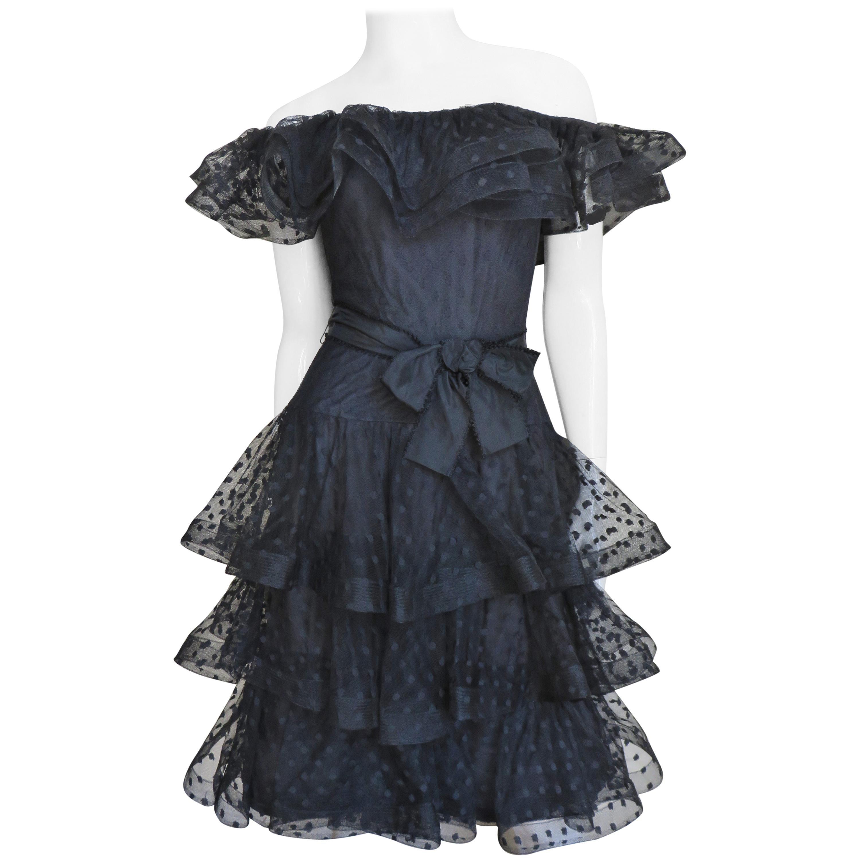 Scaasi Boutique Silk Ruffle Off Shoulder Dress 1980s