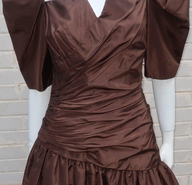 Black Scaasi Brown Taffeta Cocktail Dress For Sale