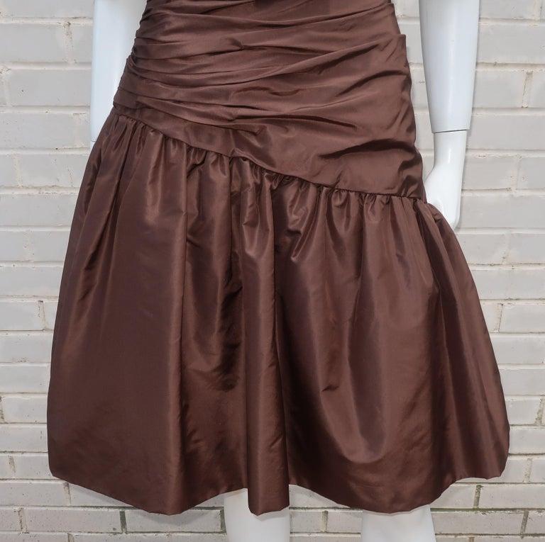 Scaasi Brown Taffeta Cocktail Dress In Good Condition For Sale In Atlanta, GA