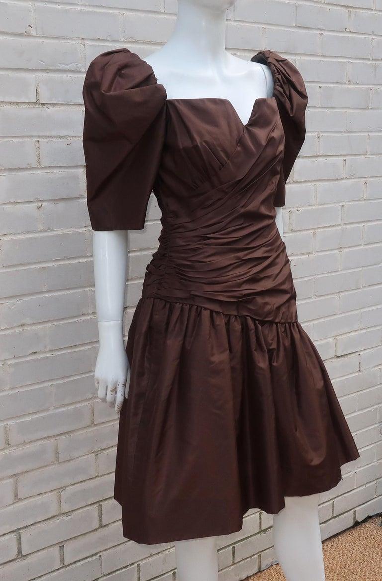 Women's Scaasi Brown Taffeta Cocktail Dress For Sale
