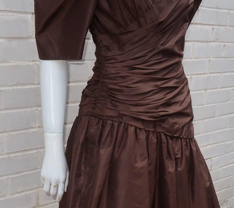 Scaasi Brown Taffeta Cocktail Dress For Sale 1