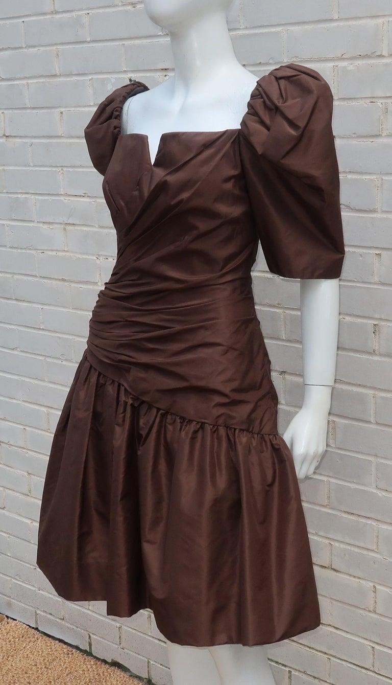 Scaasi Brown Taffeta Cocktail Dress For Sale 2