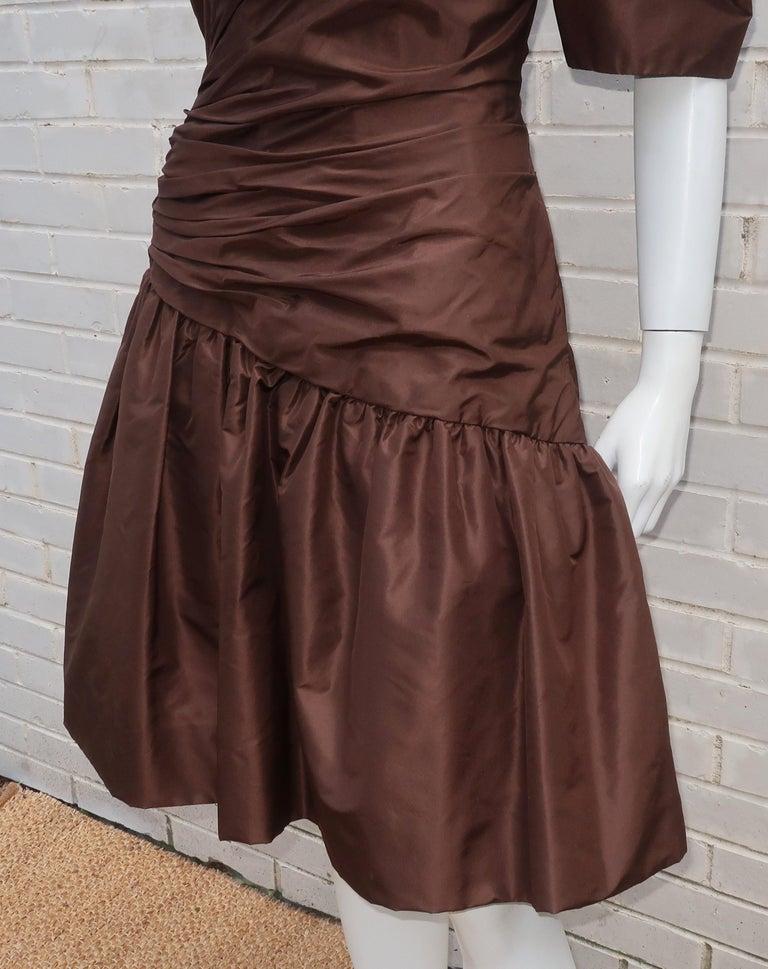 Scaasi Brown Taffeta Cocktail Dress For Sale 3