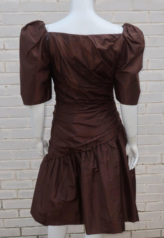 Scaasi Brown Taffeta Cocktail Dress For Sale 4