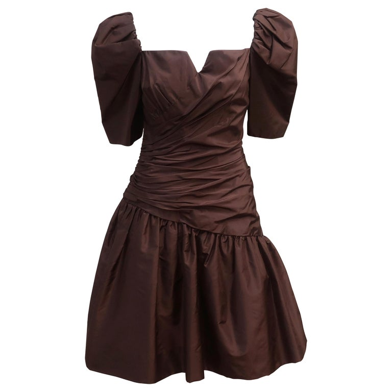 Scaasi Brown Taffeta Cocktail Dress For Sale