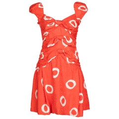 Scaasi Coral Orange Dotted Silk Print Bow Dress, 1990s