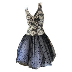 Scaasi Sequin Sleeveless Cocktail Dress w Polka Dot Petticoat Ballerina Skirt