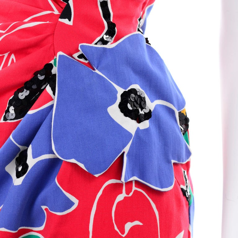 Scaasi Vintage Red Blue Yellow & Green Floral Strapless Dress With Sequins For Sale 6