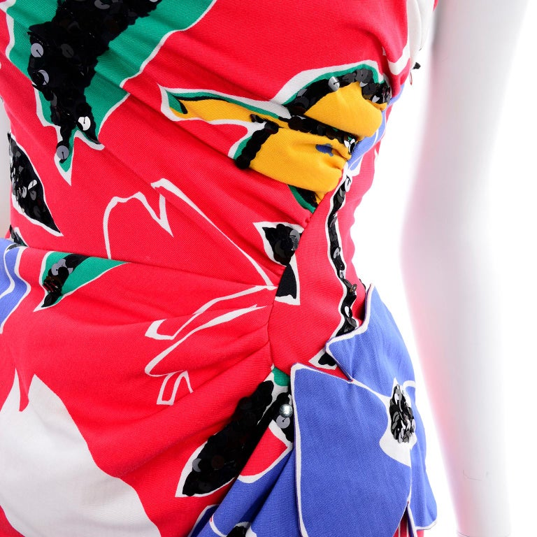 Scaasi Vintage Red Blue Yellow & Green Floral Strapless Dress With Sequins For Sale 9