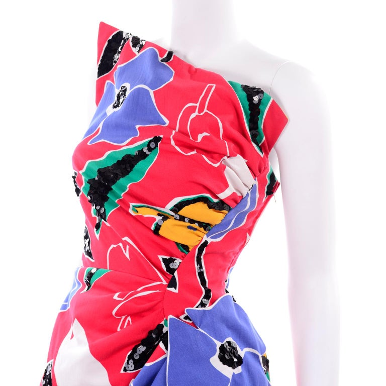 Scaasi Vintage Red Blue Yellow & Green Floral Strapless Dress With Sequins For Sale 10