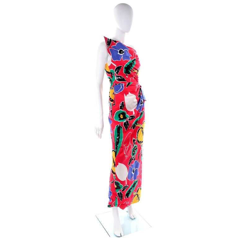 Scaasi Vintage Red Blue Yellow & Green Floral Strapless Dress With Sequins In Good Condition For Sale In Portland, OR