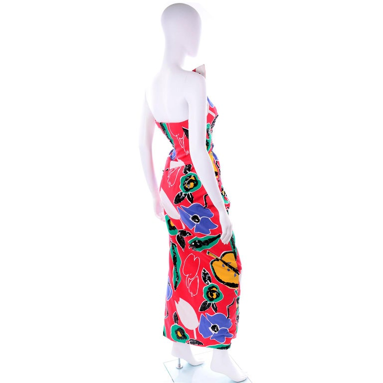Women's Scaasi Vintage Red Blue Yellow & Green Floral Strapless Dress With Sequins For Sale