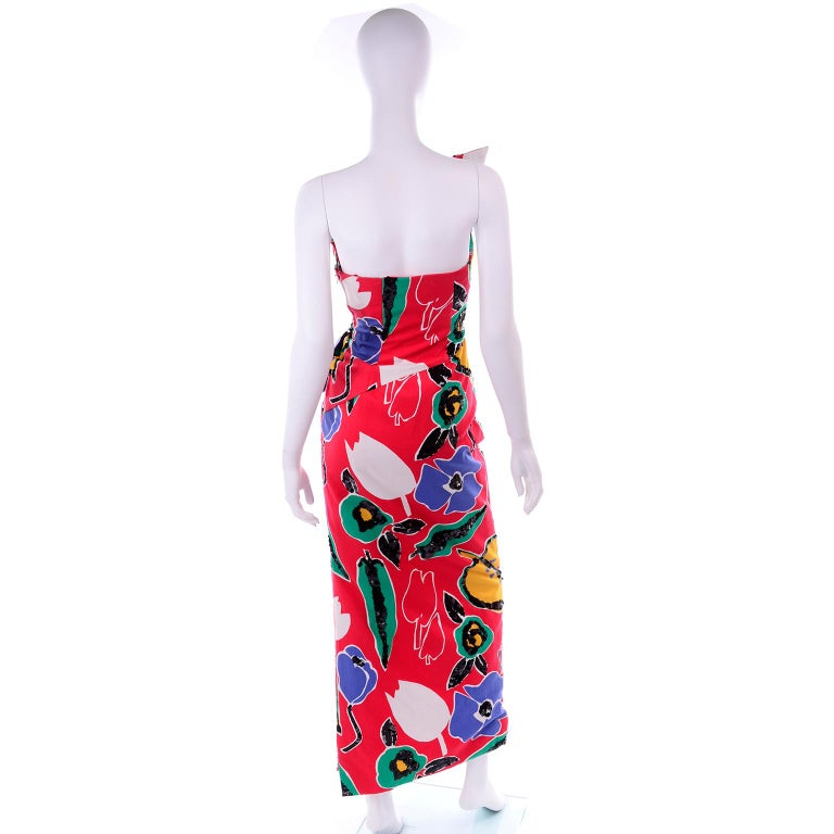 Scaasi Vintage Red Blue Yellow & Green Floral Strapless Dress With Sequins For Sale 1