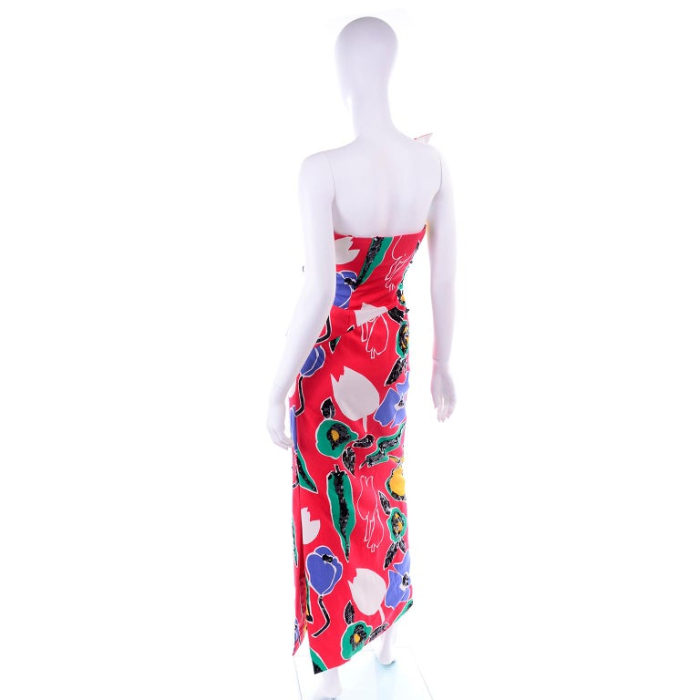 Scaasi Vintage Red Blue Yellow & Green Floral Strapless Dress With Sequins For Sale 2
