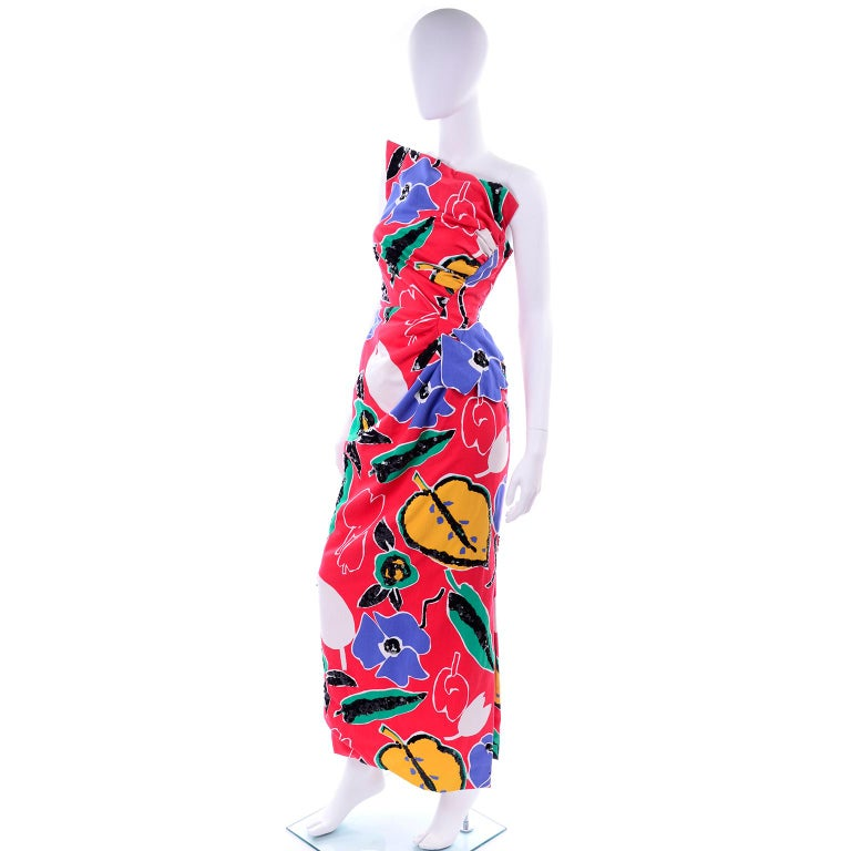 Scaasi Vintage Red Blue Yellow & Green Floral Strapless Dress With Sequins For Sale 3