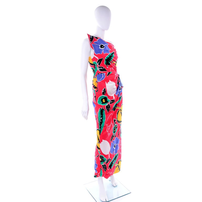 Scaasi Vintage Red Blue Yellow & Green Floral Strapless Dress With Sequins For Sale 4