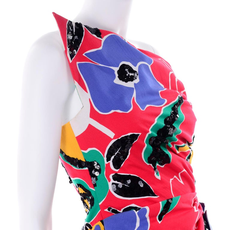 Scaasi Vintage Red Blue Yellow & Green Floral Strapless Dress With Sequins For Sale 5