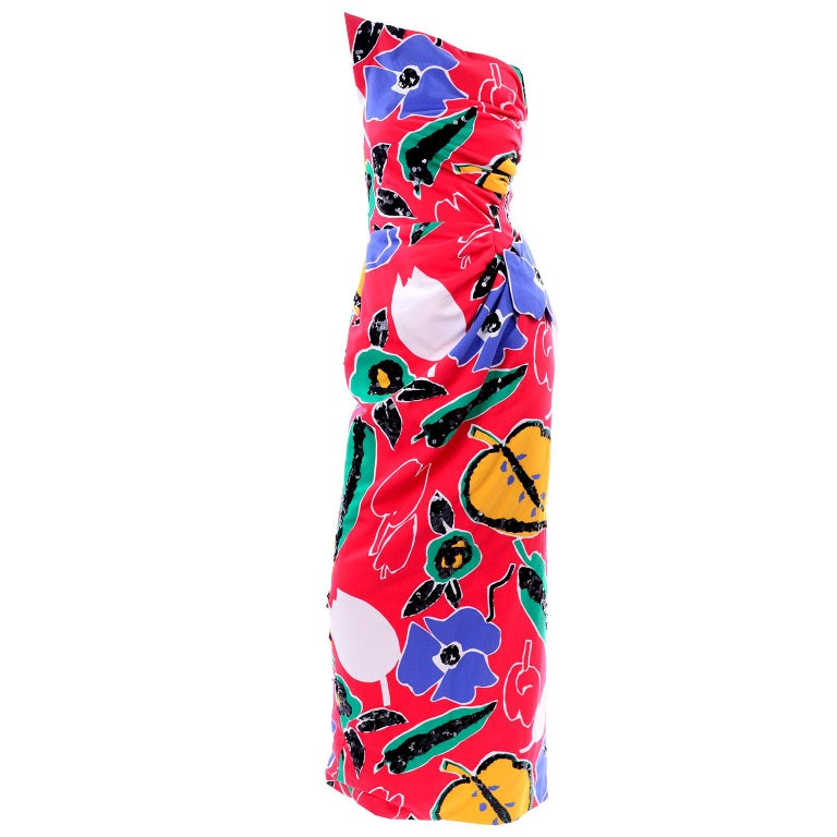 Scaasi Vintage Red Blue Yellow & Green Floral Strapless Dress With Sequins For Sale