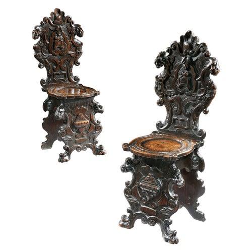 Scabello Chair Pair Hall Renaissance Revival Italian Baroque Oak Scabello Scroll