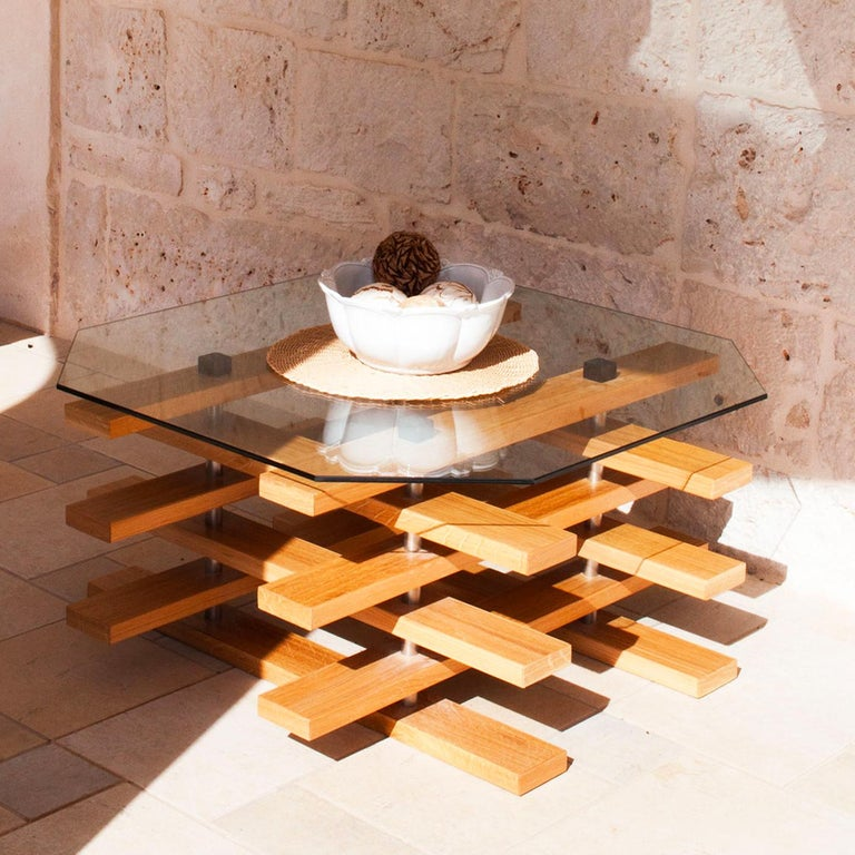 Glass Scacco Coffee Table by Apulia Design For Sale