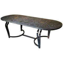 Scagliola Slate Top and Wrought Iron Table, Sicily, 19th Century