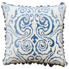 Scalamandré 'Cirrus Velvet Damask' White and Blue Pillows with Fringe, Pair