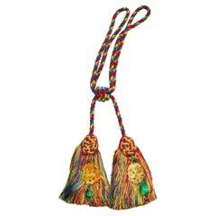 Scalamandre Duchess Silk Double Tassel Curtain Tieback, Carved Jade, Red, Blue