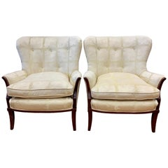 Scalamandre Fabric Vintage Pair of Wingback Bergère Wing Chairs