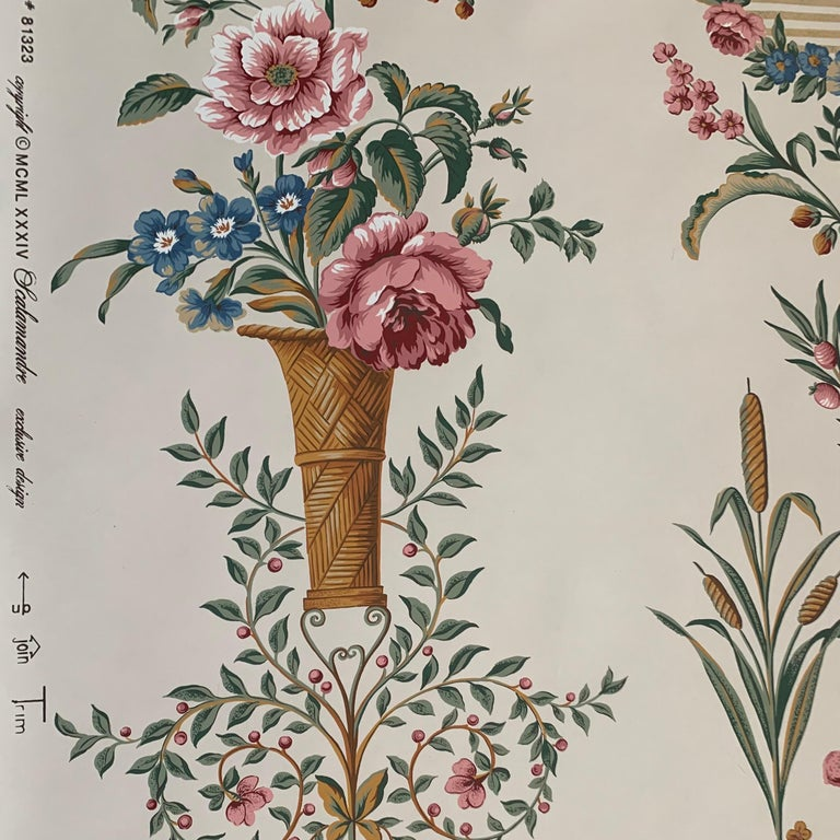 Scalamandre hand-printed Irish Historical Society Dublin panel floral wallpaper 1984. Rare vintage print. One double roll available.   ''Irish Georgian Society Collection'' Approximately 33+ linear feet / 11 yards / double roll Pattern number