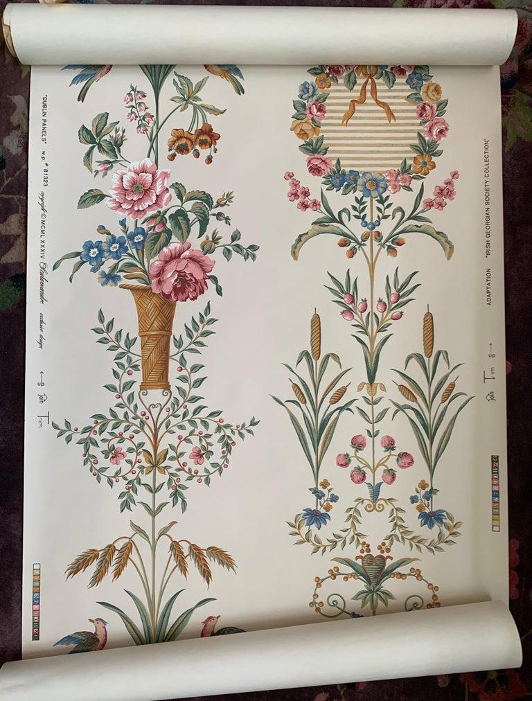 Regency Revival Scalamandre Hand-Printed Irish Historical Society Dublin Panel Wallpaper, 1984 For Sale
