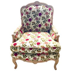 Scalamandre Old World Weavers Floral Armchair Bergère Lounge Chair