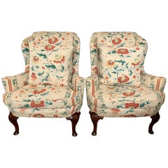 Scalamandre Pair of Wingback Chairs